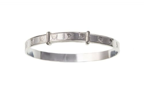 Silver Teddy Bear Bangle Childrens 3 to 7 Years Adjustable 925 Hallmark